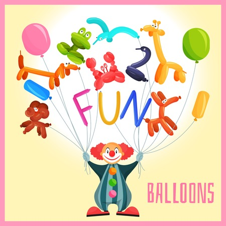 green crab: Clown with funny balloon animals circus background vector illustration