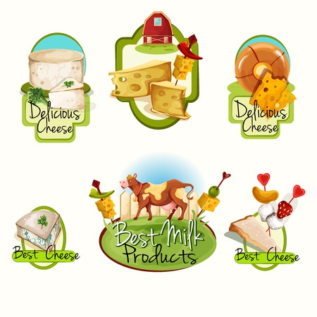 brie: Natural delicious best milk products cheese food assortment colored decorative labels set isolated vector illustration