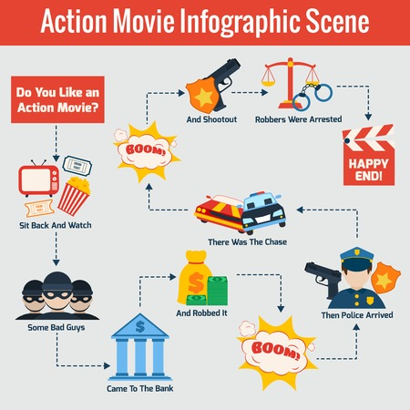 shootout: Action police movie cinema scene production infographic set vector illustration