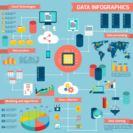 data center: Data infographic set with cloud technologies data processing modeling and algorithms vector illustration