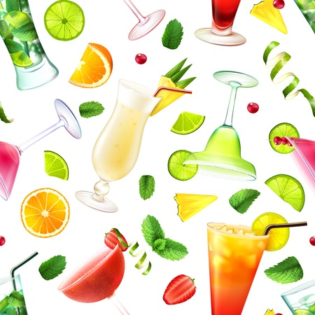 colada: Cocktail seamless pattern with alcohol drinks in glasses and decoration vector illustration