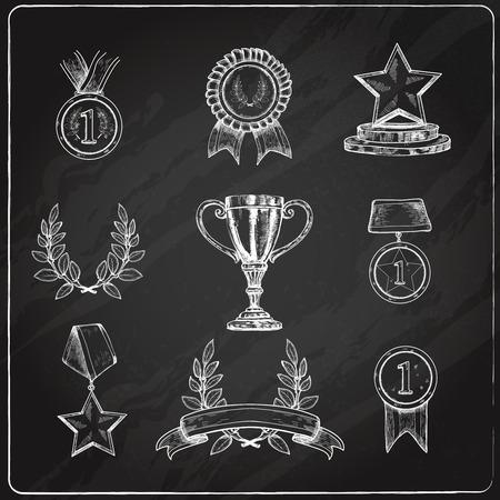 Award trophy winner prizes decorative sketch chalkboard icons set isolated vector illustration