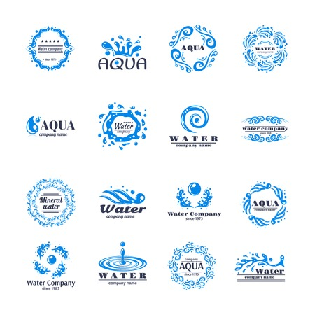 flowing river: Water company aqua mineral logo set with blue waves isolated vector illustration