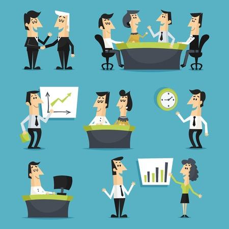 personas sentadas: Los trabajadores de oficina conjunto plana con poca gente sentada en los lugares de trabajo conferencias reuniones ilustraci�n vectorial aislado