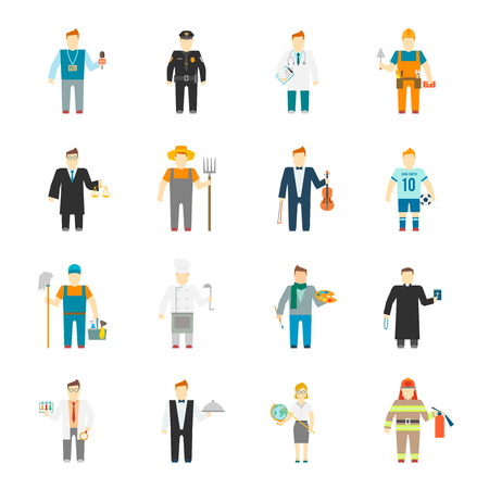 Character icon flat profession set with builder worker cook teacher doctor isolated vector illustration Çizim