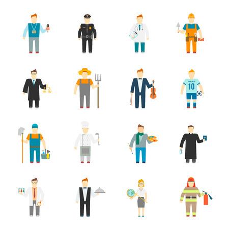 Karakter pictogram plat beroep ingesteld met geïsoleerde bouwer werknemer kok leraar arts vector illustratie