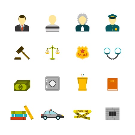 civil law: Civil law justice crime and punishment flat icons collection  with prisoner bible book abstract isolated vector illustration
