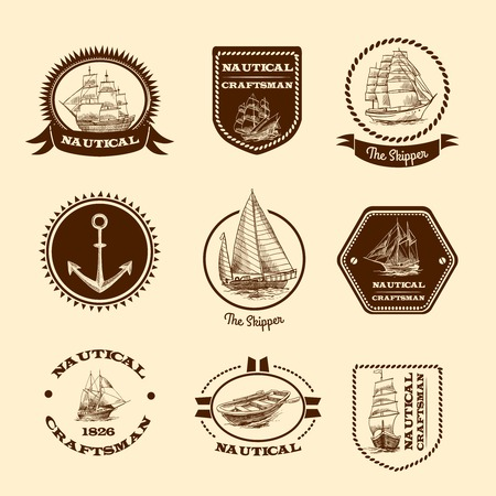 skipper: Nautical craftsman skipper emblem set with sketch sailing clipper ships and yachts vector illustration.