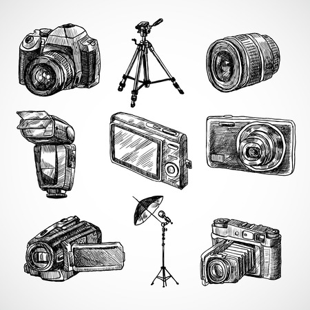 Photo camera digital technology studio equipment hand drawn set isolated vector illustration
