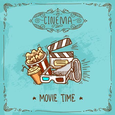 Bioscoopfilm tijd schets poster met popcorn glazen clapperboard en megafoon vector illustratie