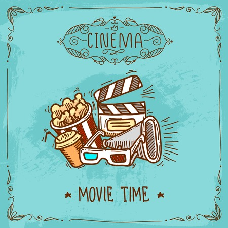 Cinema movie time sketch poster with popcorn glasses clapperboard and megaphone vector illustration Ilustracja