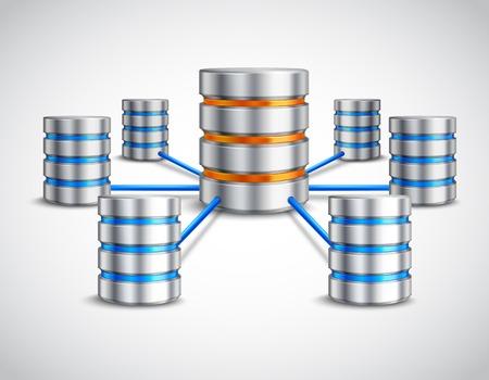 concept de base de données réseau avec hébergement dispositifs de données relié réaliste illustration vectorielle 3d