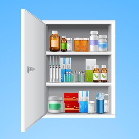medicamentos: Gabinete de la medicina con botellas de p�ldoras tabletas cae realista aislado en el fondo blanco ilustraci�n vectorial