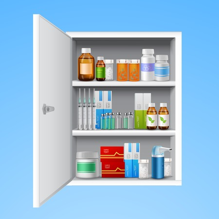 blue pills: Medicine cabinet with tablets pills bottles drops realistic isolated on white background vector illustration