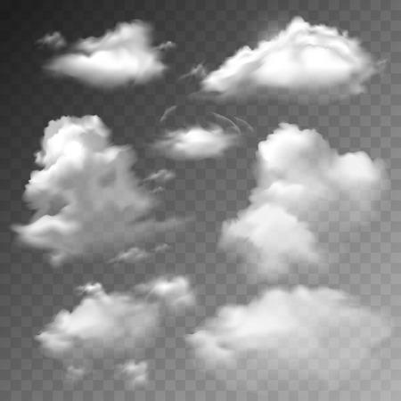 ciel avec nuages: Nuages ??transparents printemps ensoleill� m�t�o Cloudscape ensemble r�aliste illustration vectorielle