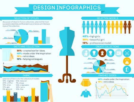 stitching machine: Clothes designer infographics set with dressmaking mannequin and charts vector illustration Illustration