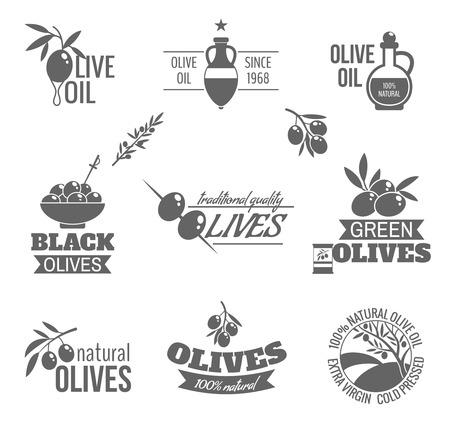 foglie ulivo: Verde biologico naturale e olive nere di qualit� tradizionale olio etichetta nera insieme isolato illustrazione vettoriale