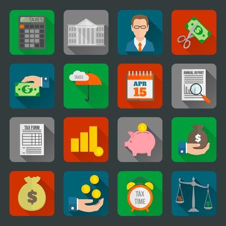 taxes: Dinero de los impuestos finanzas gobierno cort� el pago reduciendo s�mbolos sombra iconos largos planos conjunto aislado ilustraci�n vectorial Vectores
