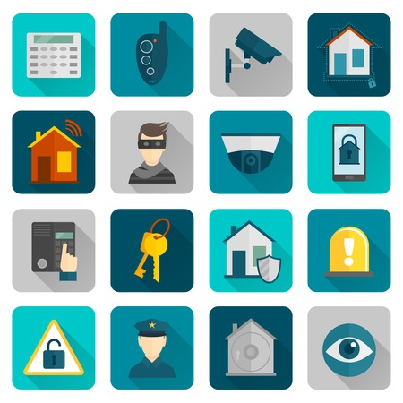 Home security safety and protection burglar alarm system flat icons set isolated vector illustration. Vector