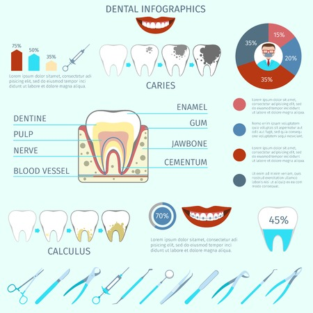 cementum: Dental care instruments infographics set with tooth and pie chart vector illustration