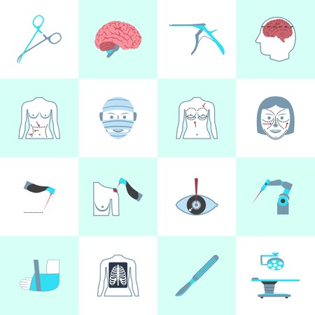 surgical operation: Surgery medical operation healthcare hospital icons set isolated vector illustration