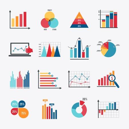 Elementy rynku danych biznesowych dot diagramy słupkowe i wykresy kołowe płaskie ikony zestaw izolowanych ilustracji wektorowych.