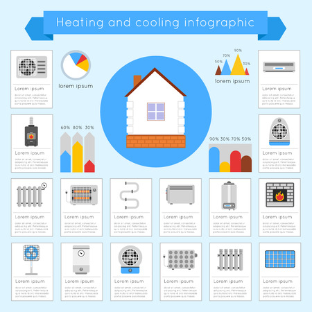 coldly: Heating and cooling infographics set with coldly cool heat hot vector illustration
