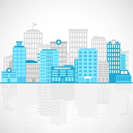 medical building: Medical building flat background with emergency center clinic  hospital vector illustration