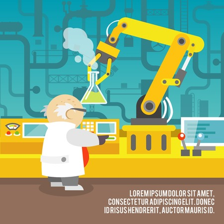 Robotic arm assemble line mechanic manufacturing with scientist factory robot operator production concept vector illustration.
