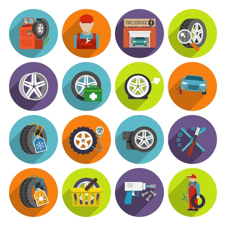tire shop: Tire wheel service shop car auto maintenance repair flat long shadow icons set isolated vector illustration Illustration