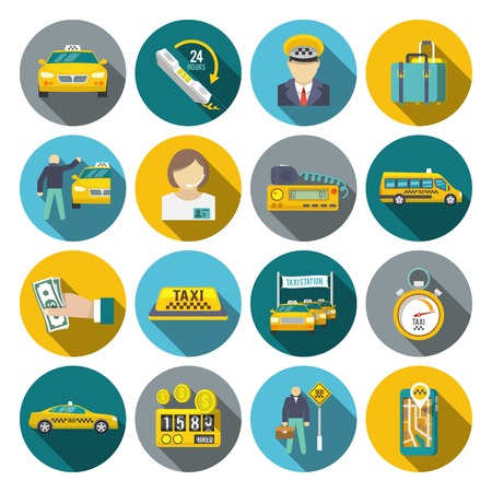 Taxi driver transportation car service cab man flat long shadow icons set isolated vector illustration