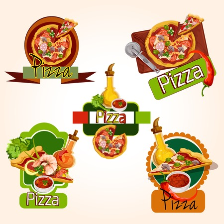 pizza ingredients: Pizza restaurant menu emblems set with ingredients oil and seasoning isolated vector illustration