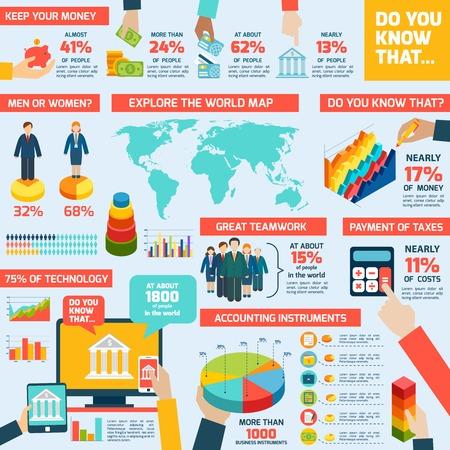 contabilidad financiera: Infografía de Contabilidad establecen con las cartas de dinero finanzas y mapa del mundo ilustración vectorial