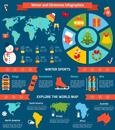 Winter and christmas infographic set with sports symbols and world map vector illustration Vector