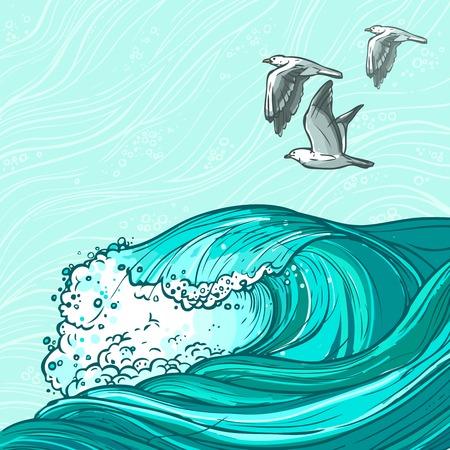 flowing water: Las olas que fluyen dibujado a mano el agua del oc�ano del mar y los p�jaros gaviota fondo de color ilustraci�n vectorial Vectores