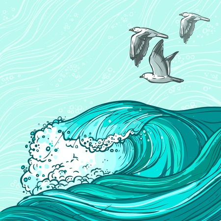 tides: Waves flowing water hand drawn sea ocean and seagull birds colored background vector illustration