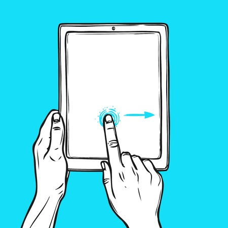 ring finger: Hand holding tablet device and touching a button sketch on blue background vector illustration.
