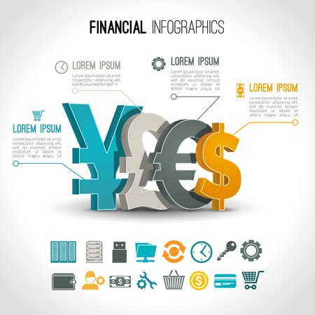 currency: Financial infographic set with 3d currency exchange signs vector illustration
