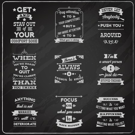 Success motivational success life and inspiration quotes collection chalkboard labels set isolated vector illustration Illustration