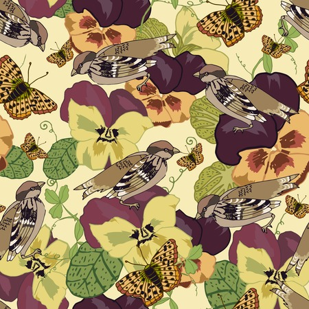 petunia: Vintage flowers seamless pattern with pansy petunia viola butterflies and sparrow birds vector illustration