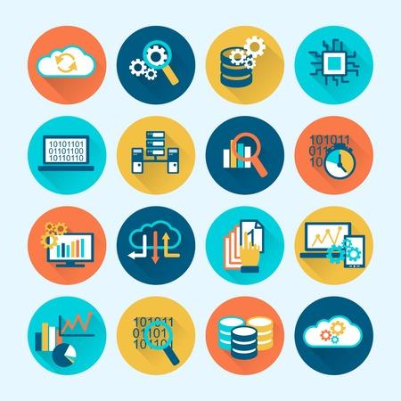 gestion empresarial: De análisis de bases de datos de la red digital de iconos de procesos de computación plana conjunto aislado ilustración vectorial