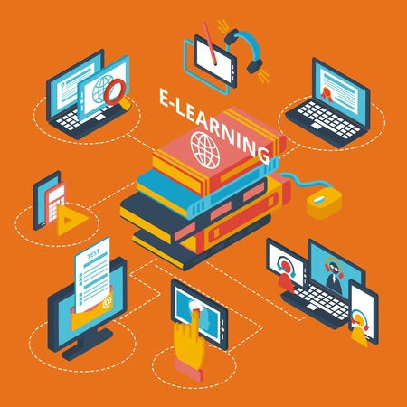 E-learning isometric decorative icons set with laptop tablets and books vector illustration Illustration