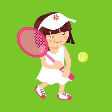 tennis racquet: Chico chica con la raqueta de tenis y pelota deporte aislado en verde ilustraci�n vectorial de fondo. Vectores