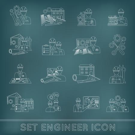 개요 세트 고립 된 벡터 일러스트 레이 션 아이콘 고정 도구를 사용하여 엔지니어 건설 산업 공정 기술자 노동자