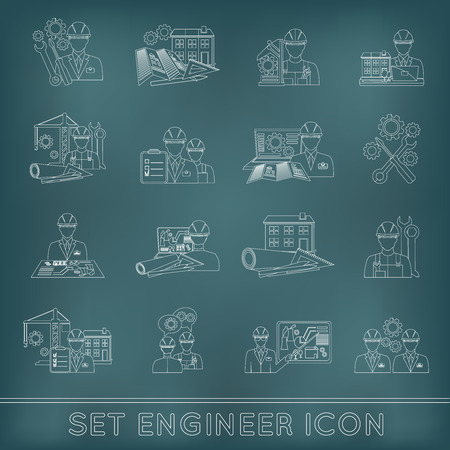 Engineer construction equipment industrial process technician workers with fixing tools icons outline set isolated vector illustration Иллюстрация