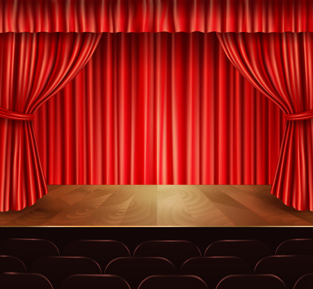 red curtain: Theater stage with seats red velvet open retro style curtain background vector illustration