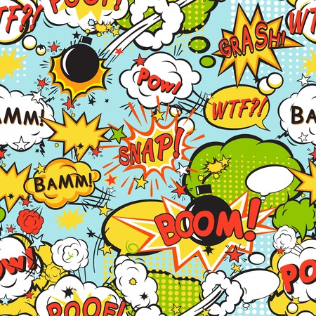 cartoon bomb: Comic speech bubbles in pop art style with bomb cartoon and explosion text seamless pattern vector illustration