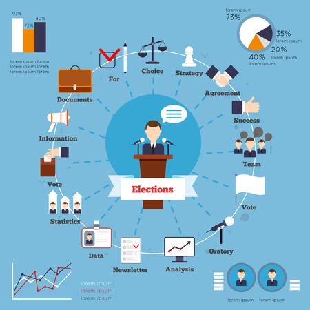 Elections infographic set with choice strategy agreement success team vote elements and charts vector illustration Imagens - 34314937