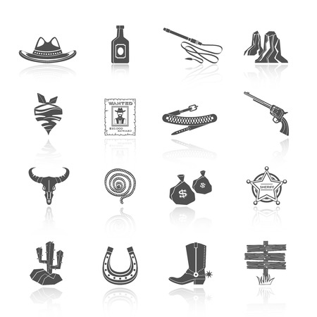 lasso: Wild west cowboy black icons set with hat bottle shoes cactus isolated vector illustration