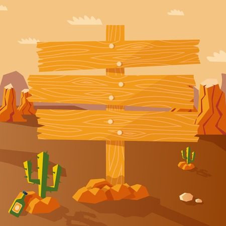 Wild west poster with western landscape and wooden sign vector illustration